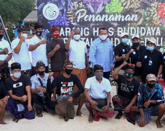 """Tanam Karang Hias, Menteri Edhi Prabowo """"Pompa"""" Semangat Baru Pengembangan Terumbu Karang di Pantai Pandawa"""