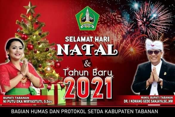 Ucapkan Selamat Natal dan Tahun Baru 2021, Bupati dan Wakil Bupati Tabanan Ajak Masyarakat Disiplin Terapkan Prokes-kabarbalihits
