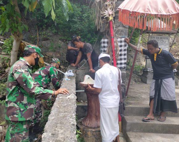 Program Sumbangsih Tempat Cuci Tangan Terus Bergulir, Kali Ini Dipasang Di Wilayah Koramil Nusa Penida